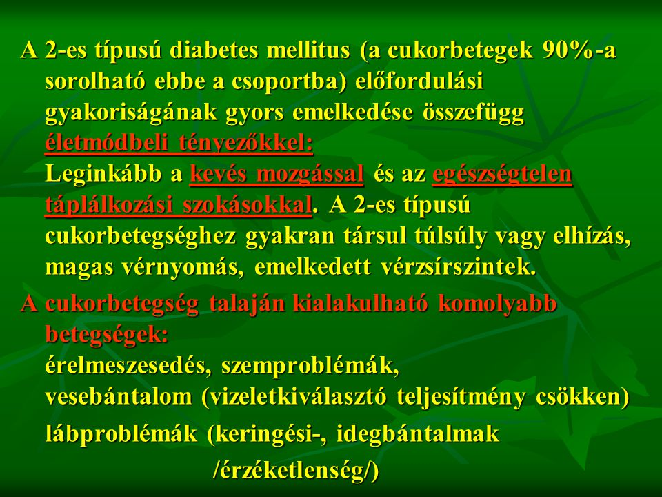 cukorbetegség elhízás magas vérnyomás